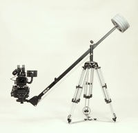 The RED One camera on an OConnor head with Mitchell base;  Seven Jib on Mitchell topped Ronford legs - heavy duty set up.