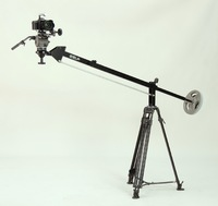 The Canon 5D on a Cartoni Focus head with 100mm bowl base;  Seven Jib on Manfrotto legs - medium/light duty set up.